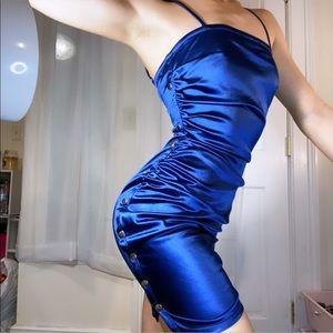 Fashion nova navy satin bodycon mini dress
